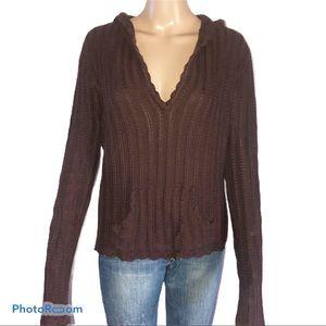 Lilu brown hooded sweater